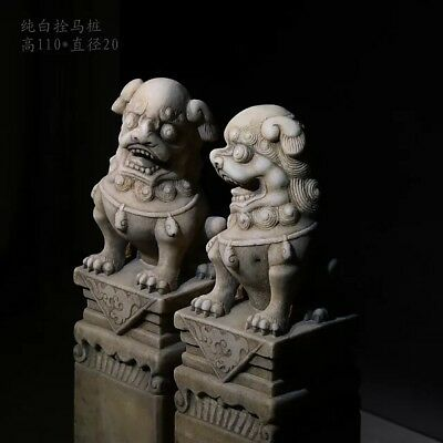 Chinese Antique Hand Carving White marble Lions (a pair)