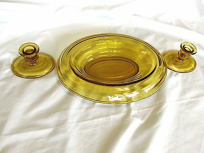 Buffet Set Smith Glass Candle Holder and Dish Oval Rolled Ringed Centerpiece