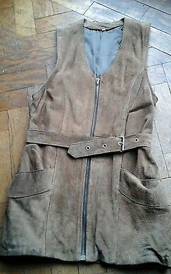 Long waistcoat Brown Suede Vintage size S
