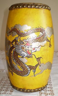Chinese Dragon Decorated Hand Drum In Good Condition