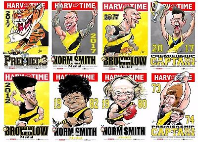 2017 Richmond Tigers Premiers Premiership Harv Time Print Set Of 8 Norm Smith