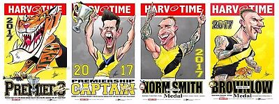 2017 Richmond Tigers Premiers Premiership Harv Time Print Set Of 4 Dustin Martin