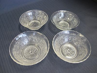 """4 Assorted Tiara Indiana Clear Sandwich Glass 4 3/4"""" Berry Bowls"""