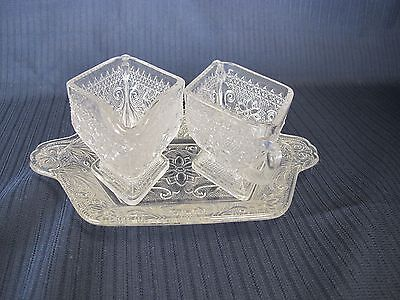 Vintage  Indiana Tiara Sugar And Creamer With Tray