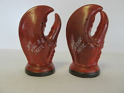 Pair Or Bar Harbor Maine 4 1/2 Lobster Claw Salt And Pepper Shakers