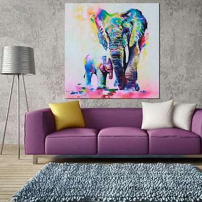 Multicolored Elephant Canvas Print Wall Art Painting Picture Unframed Decor UK