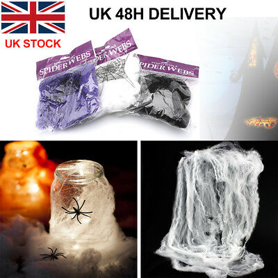 Spider Web with 2 Spiders Halloween Decoration Stretchable Cobweb UK WHITE