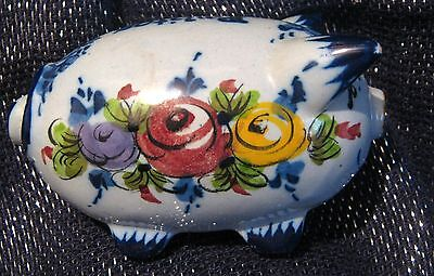 China Pig Figurine floral painted in blue marked Vestal Alcobash 4ins long