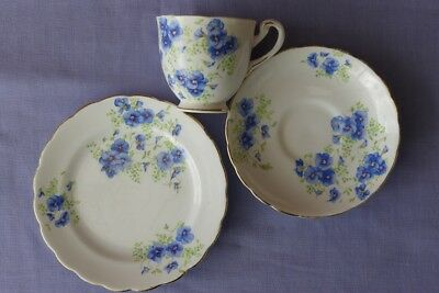 Vintage Tuscan blue violets Trio,  tea cup saucer and plate