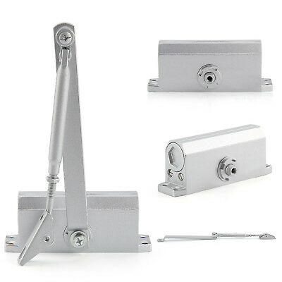 45-60KG Silver Aluminum Commercial Door Closer Two Independent Valves Control