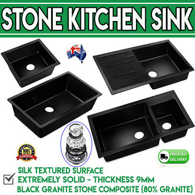 Black Stone Sink Kitchen Granite w/ Stainless Steel Water Strainer