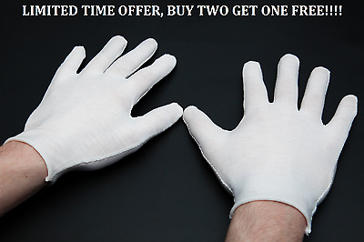 2 Pairs White Cotton Gloves for Handling Inspecting Coins Gold Silver Jewellery