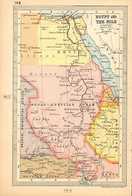 1930  Small Vintage Map -  Egypt And The Nile