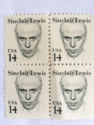 Stamps - USA Sinclair Lewis 14c block of 4