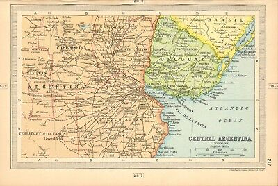 1930  Small Vintage Map -  Central Argentina
