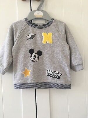 Next Baby Boy 3-6 Months Mickey Mouse Grey Jumper
