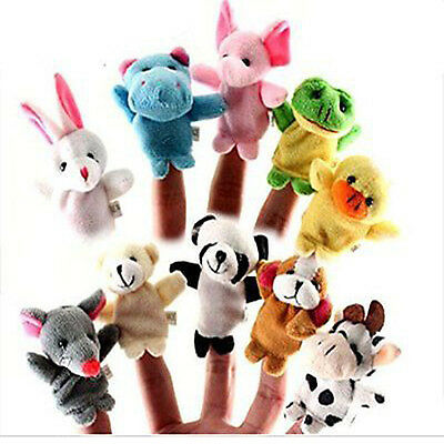 US Family Finger Puppets Cloth Doll Baby Educational Hand Cartoon Animal Toy 10