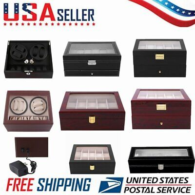 10/12/20 Slots Wood&Leather Watch Box Display Jewelry Case Automatic Rotation BP