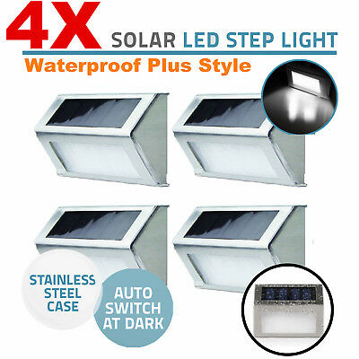 4 X Solar Power Wall Fence Door Stair Step Lights Led Outdoor Lighting Au Stock
