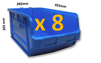 8 x Lin Bin XXL Stackable Storage Bins Container Plastic Parts Boxes Linbin VGC