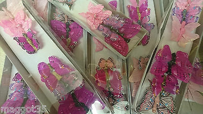 12 Pink Feather Butterflies, assorted designs, weddings, cakes, crafts
