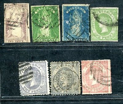 Australia Victoria 7 Queen On Throne & Emblems Unsorted Used