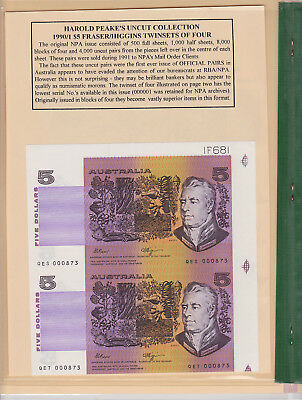 $5 Fraser/Higgins Two Consecutive Uncut Pairs in folder by Harold Peake