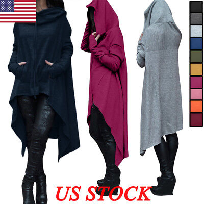 US Women Loose Hoodie Long Hooded Tops Ladies Sweatshirt Sweater Asymmetric Plus
