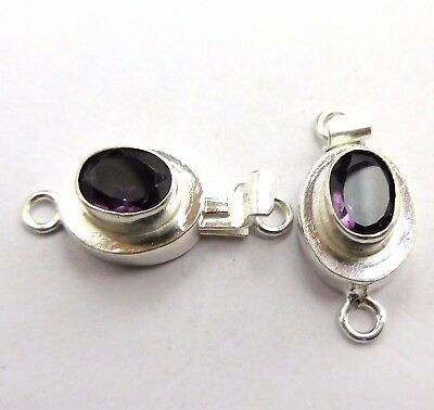 2 Pcs Amethyst Stone Box Clasp 21X12Mm 1 Strand Sterling Silver Plated#618