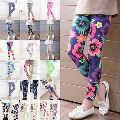 US Multi-Style Kids Colorful Skinny Leggings Casual Girls Stretchy Pants 2-14Y