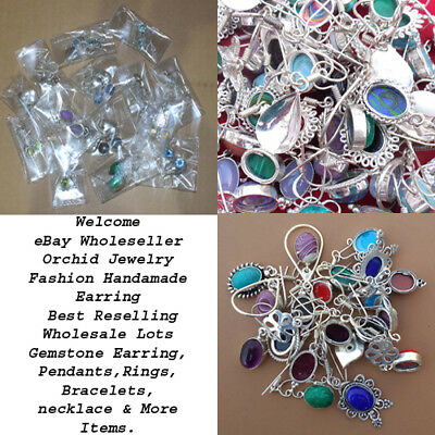 40 PAIR WHOLESALE LOT Multi GEMSTONE 925 STERLING SILVER MIX ASSORTED EARRING