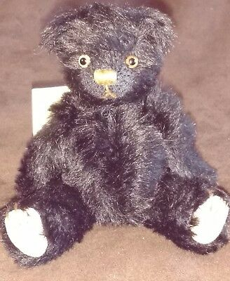 "Dean's Mini Traditional Mohair Teddy Bear  - 6"" - Black - New With Tags"