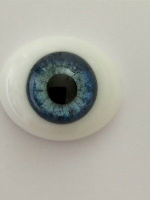 Reborn GLASS eyes 20mm OVAL*MID BLUE *Enchanted Forest Reborn Supplies*CC-01*