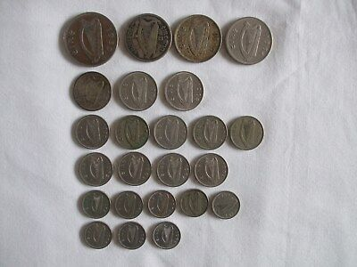 24 Ireland Coins Various Dates & Denominations