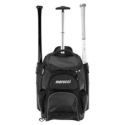 (Black) - Marucci Axle Wheeled Baseball Batpack. Free Delivery