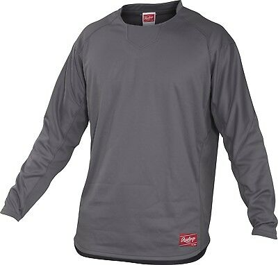 (Medium, Graphite) - Rawlings Youth Dugout Fleece Pullover. Shipping Included