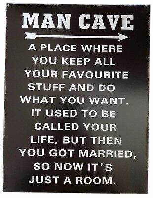 Man Cave Sign Humorous Wall Plaque Gift For Him