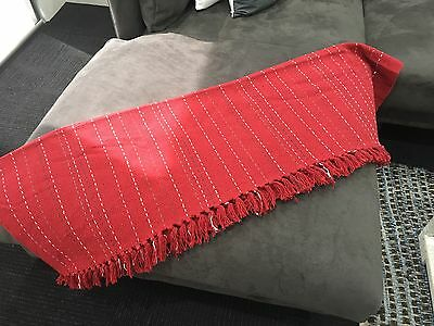 Cotton Handmade Woven Picnic Throw Rugs Blanket - Red/White & FREE FREIGHT