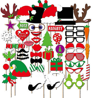 50pcs Photo Booth Props DIY Mustache On A Stick Christmas Birthday Party Decor
