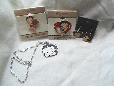 Betty Boop Lot - Pendant on Stainless steel chain, Heart Enamel Earrings, 2 Pins