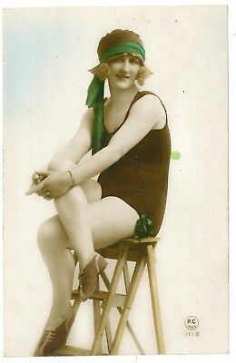Beautiful glamour postcard, young bathing lady. Early 1900's