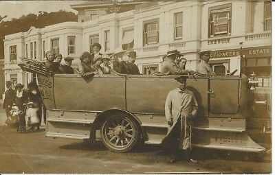 Dorset, Bournemouth, Charabanc Outside Hankinson Estate Agents,  Photo Postcard