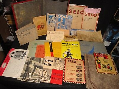 Collection Of Ww2 To 1950S Photo's Film Wallets Negatives Albums Etc In Old Tin