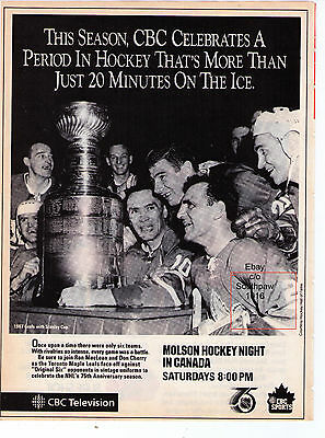 1991 CBC Hockey Night In Canada Toronto Maple Leafs 67 Cup Photo Print Advert.