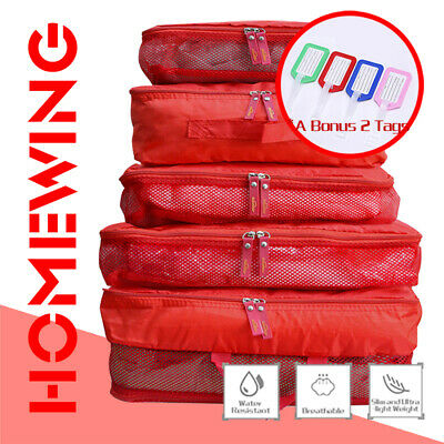 5Pcs Packing Cube Travel Luggage Organiser Suitcase Storage Pouch Bags Red NEW