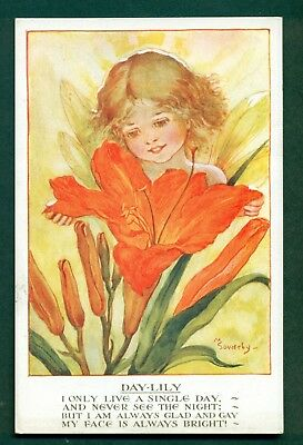 FLOWER CHILDREN BY M SOWERBY,DAY-LILY,vintage postcard