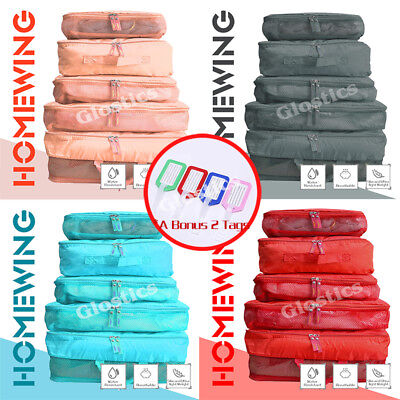 5Pcs Packing Cube Travel Luggage Organiser Suitcase Clothes Storage Pouch Bags