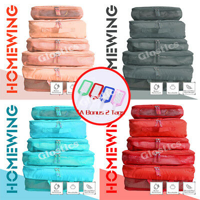 5Pcs Packing Cubes Travel Luggage Organiser Suitcase Clothes Storage Pouch Bags