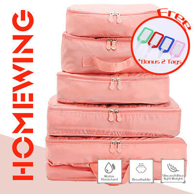 5Pcs Packing Cube Travel Luggage Organiser Suitcase Storage Pouch Bags Pink NEW