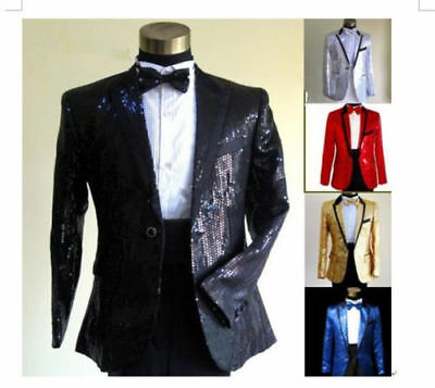 Custom  Made Sequins Suits Mens Wedding Suits Groom Tuxedos Best Man Suits